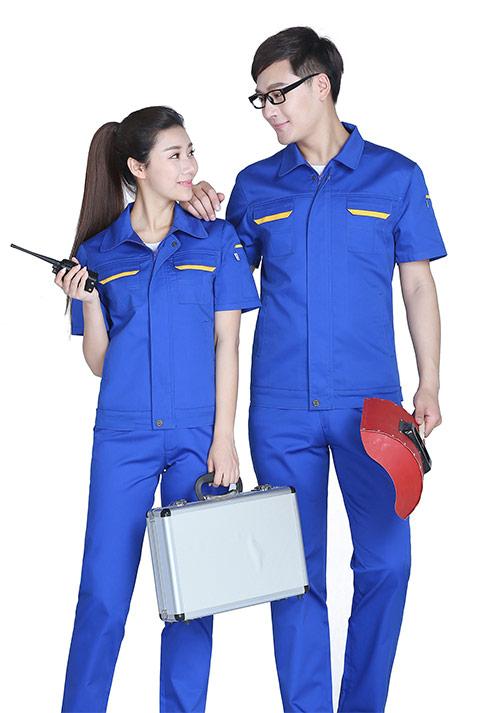 蓝色短袖工作服