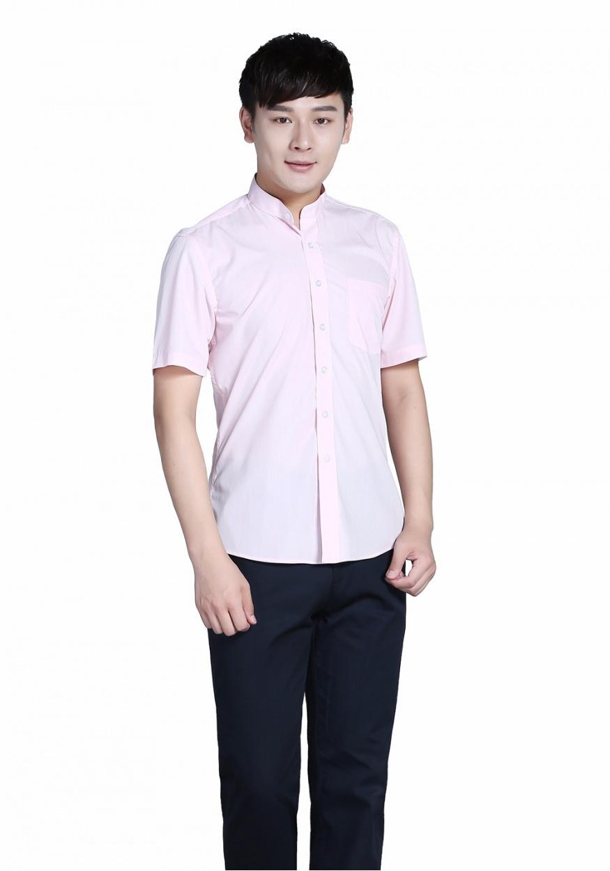 粉色衬衫男粉色立领商务短袖衬衫