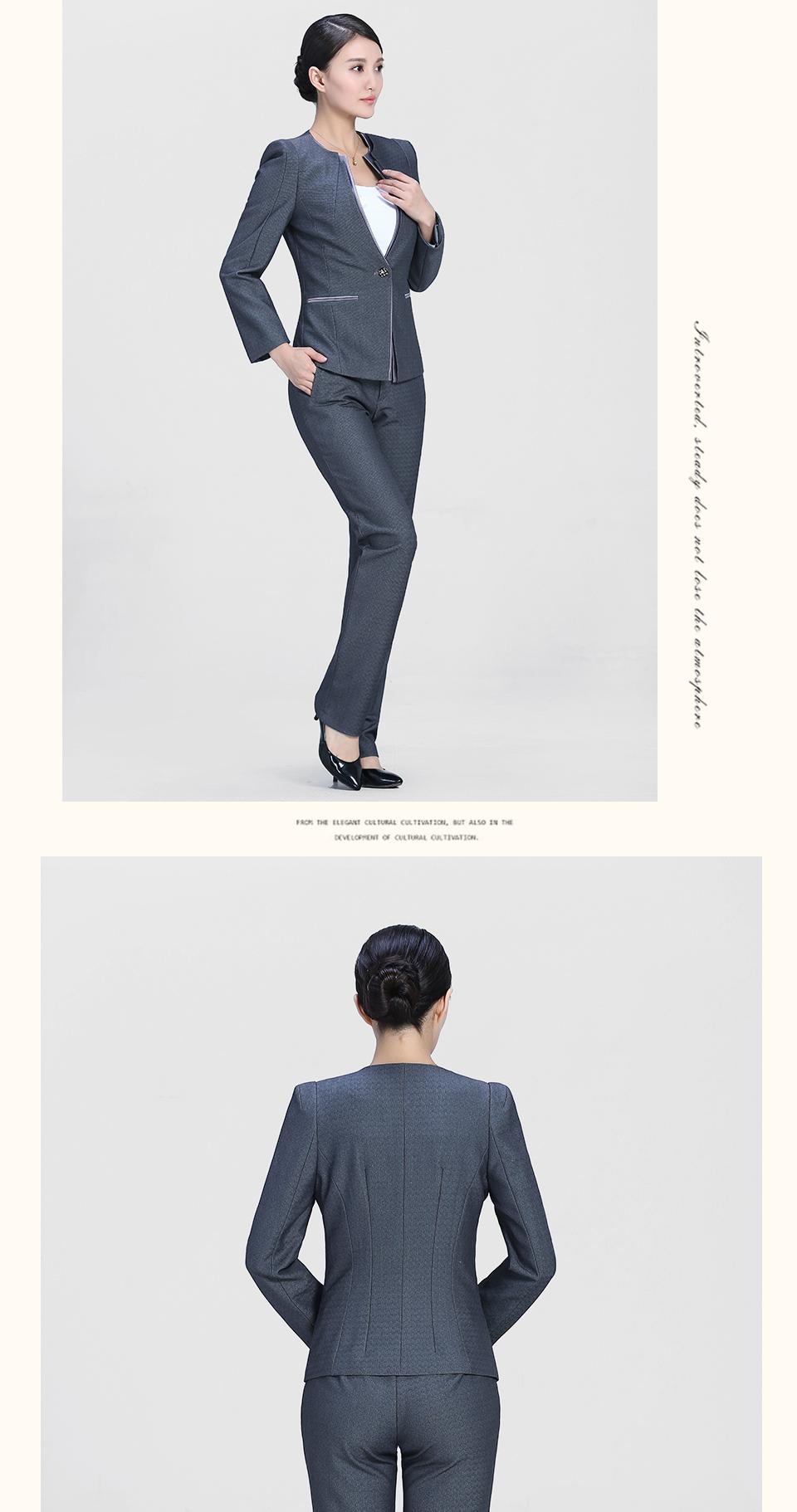 新款中灰色时尚一粒扣职业套装